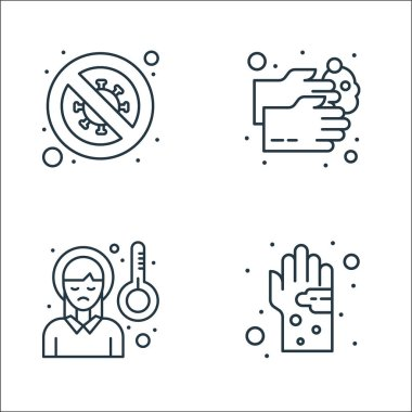 Virus transmission line icons. linear set. quality vector line set such as germs, headache, hand wash icon