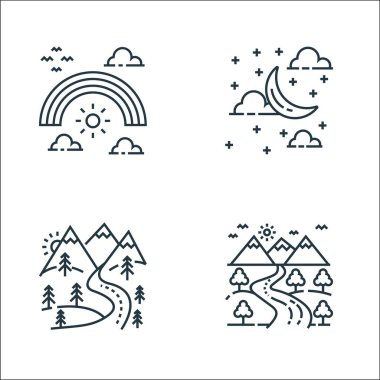 Nature and landscape line icons. linear set. quality vector line set such as road, pathway, cloudy night icon