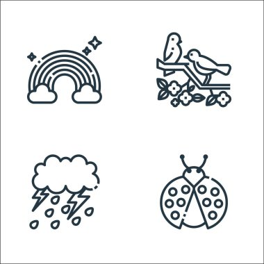 Spring season line icons. linear set. quality vector line set such as ladybug, storm, bird icon