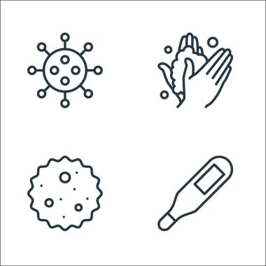 Stop virus line icons. linear set. quality vector line set such as temperature, germ, wash icon