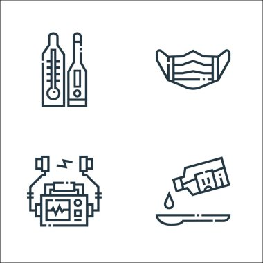 Medical services line icons. linear set. quality vector line set such as syrup, defibrillator, medical mask icon
