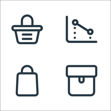 Marketplace line icons. linear set. quality vector line set such as package, bag, chart icon