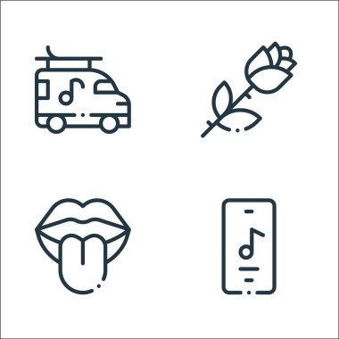 Rock n roll line icons. linear set. quality vector line set such as music app, tongue, rose icon
