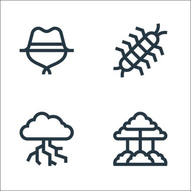 Jungle line icons. linear set. quality vector line set such as tree, thunderstorm, centipede icon