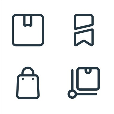 Marketplace line icons. linear set. quality vector line set such as package, bag, brand icon