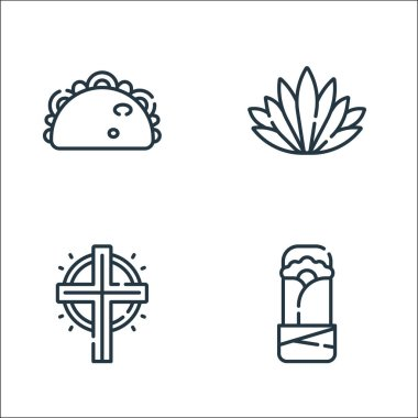 Mexico line icons. linear set. quality vector line set such as burrito, cross, agave icon