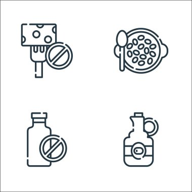 Vegan food line icons. linear set. quality vector line set such as olive oil, no milk, seeds icon