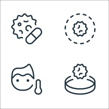 Coronavirus line icons. linear set. quality vector line set such as research, thermometer, area icon