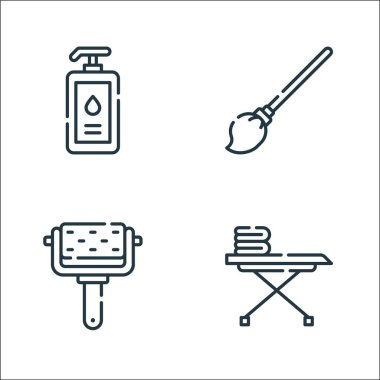 Cleaning line icons. linear set. quality vector line set such as iron board, roller, mop icon