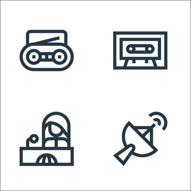 News line icons. linear set. quality vector line set such as satellite dish, news reporter, cassette icon