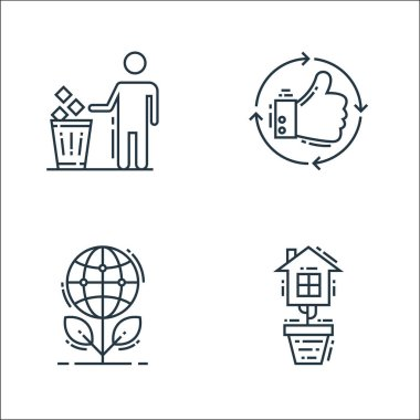 Environment and eco line icons. linear set. quality vector line set such as eco house, ecology, thumbs up icon
