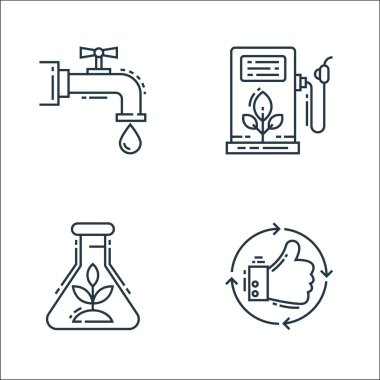 Environment and eco line icons. linear set. quality vector line set such as thumbs up, herbalism, fuel pump icon