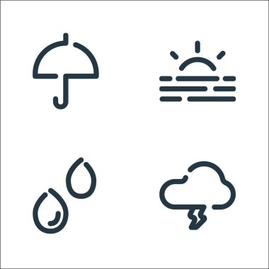 Weather line icons. linear set. quality vector line set such as strom, rain, sunrise icon