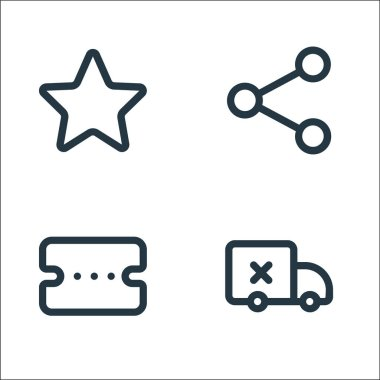 Marketplace line icons. linear set. quality vector line set such as delivery, voucher, share icon
