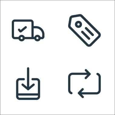 Marketplace line icons. linear set. quality vector line set such as transfer, receive, label icon
