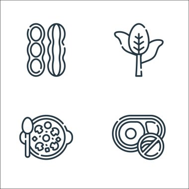 Vegan food line icons. linear set. quality vector line set such as no beef, mushroom, spinach icon
