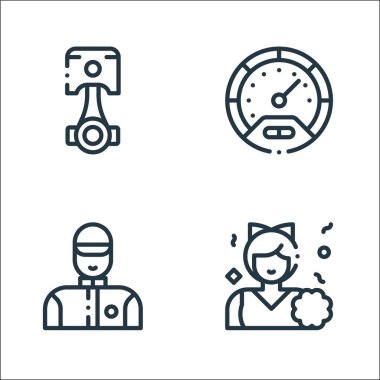 Autoracing line icons. linear set. quality vector line set such as cheerleader, technician, speedometer icon