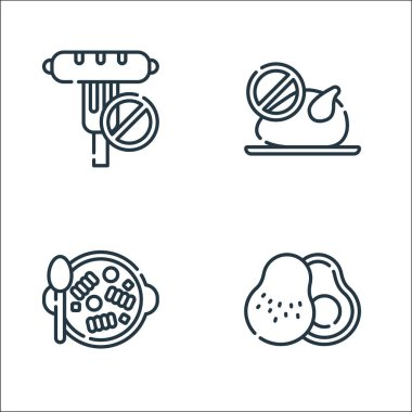 Vegan food line icons. linear set. quality vector line set such as avocado, pasta, no chicken icon