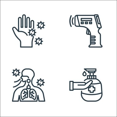 Coronavirus line icons. linear set. quality vector line set such as hand sanitizer, breathing, thermometer icon