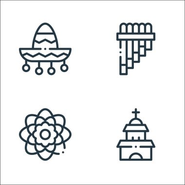 Mexico line icons. linear set. quality vector line set such as temple, dalia, zampona icon