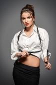 Fotografie Porträt einer sexuellen junge Frau mit Bluse und Rock. Schöne intelligentes Mädchen. Schönheit, Mode