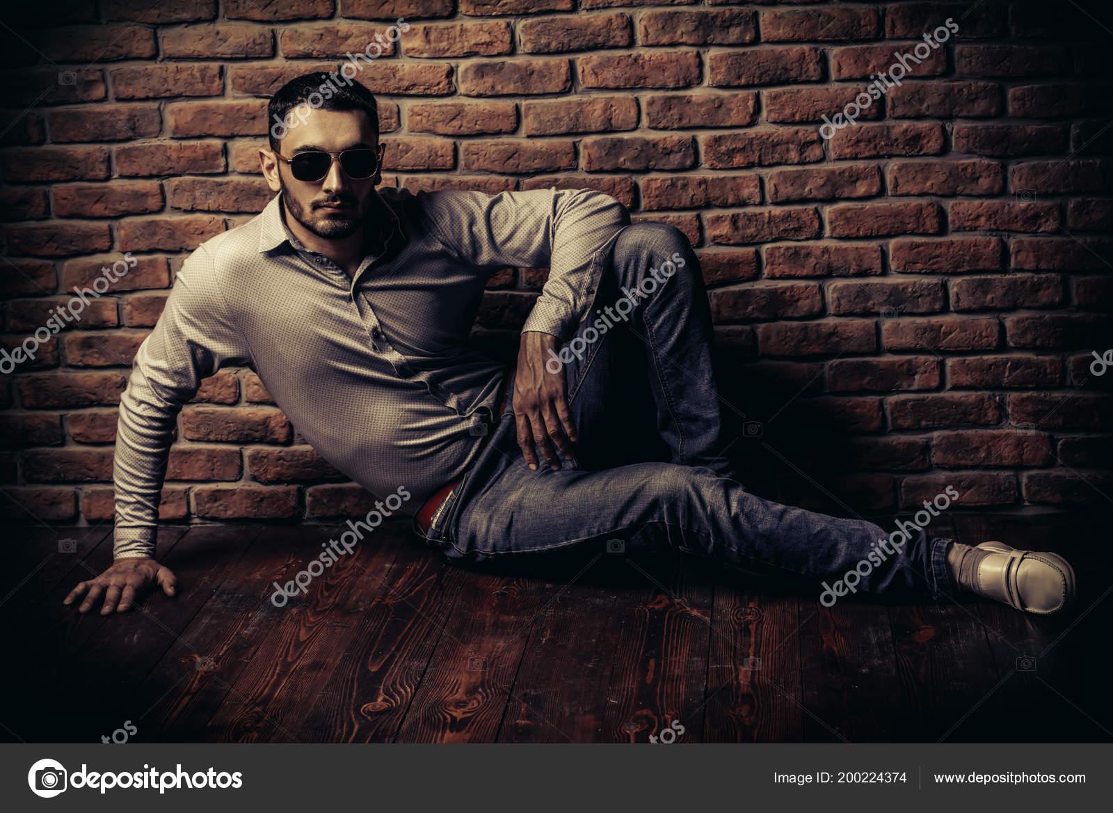 Portrait Handsome Brunet Man Posing Brick Wall Men Beauty
