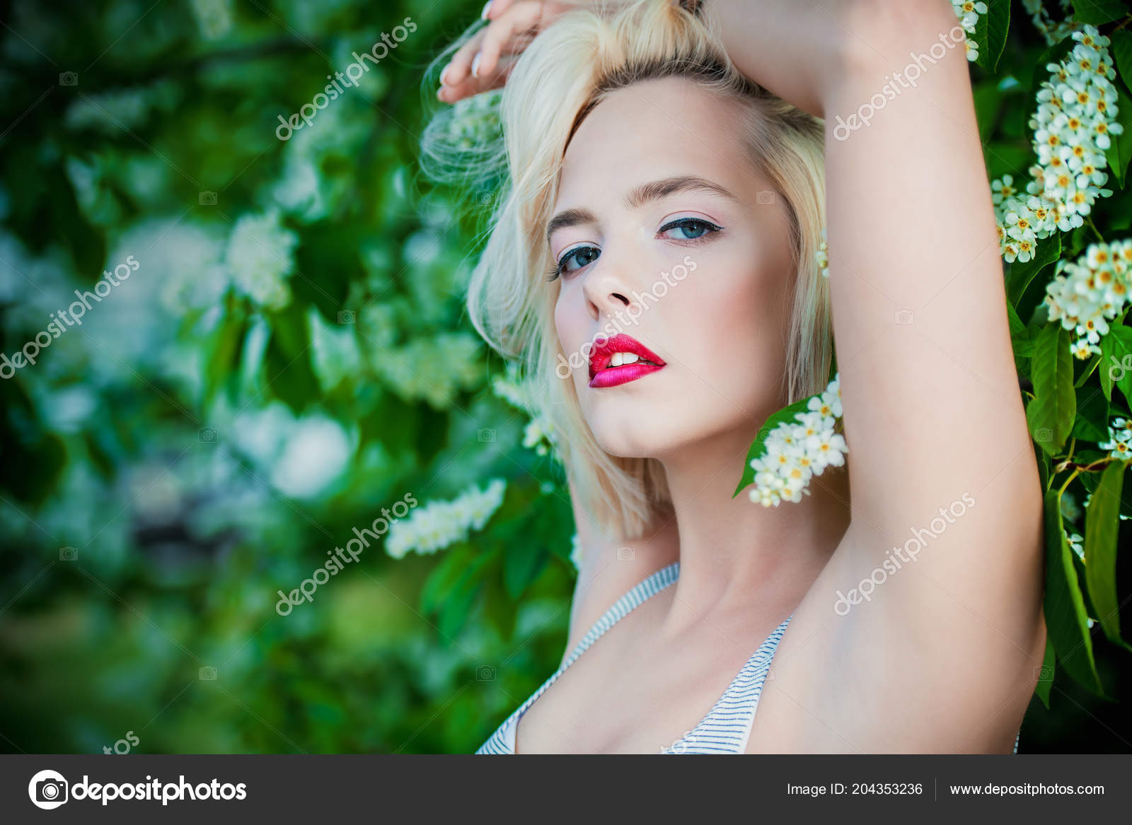 Outdoor young beauty blonde