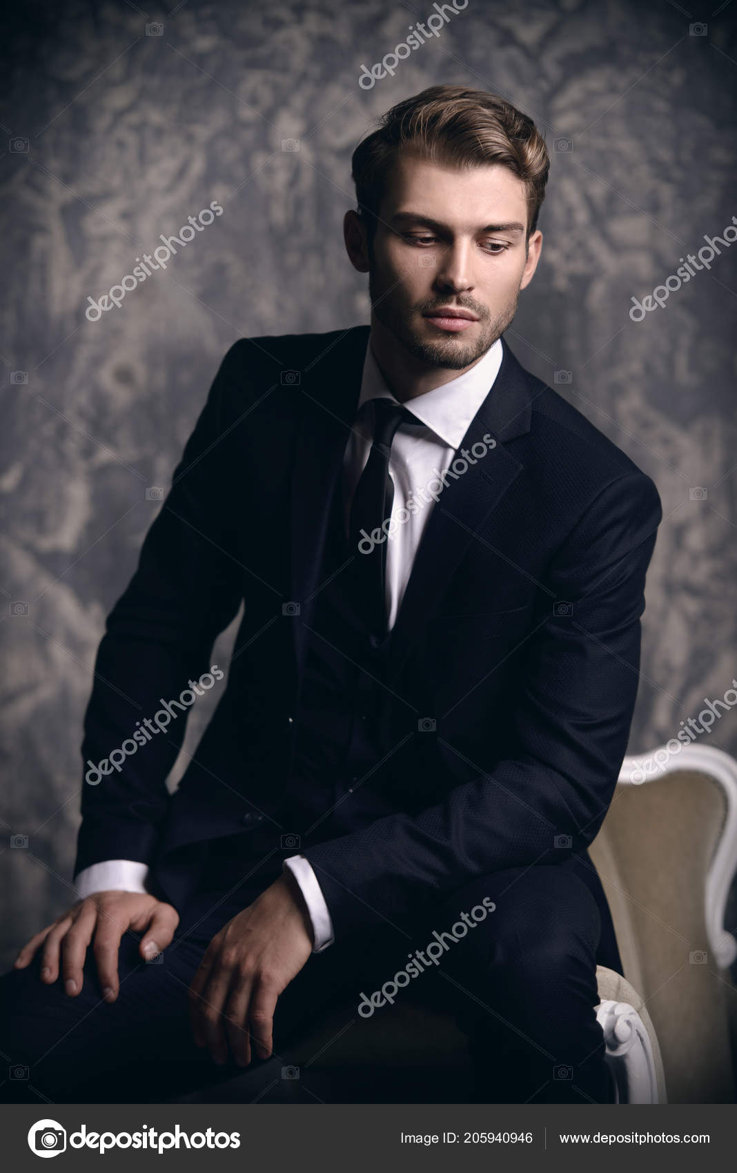 965ae113a2 Ritratto Uomo Bello Vestito Elegante Seduta Una Poltrona Una ...
