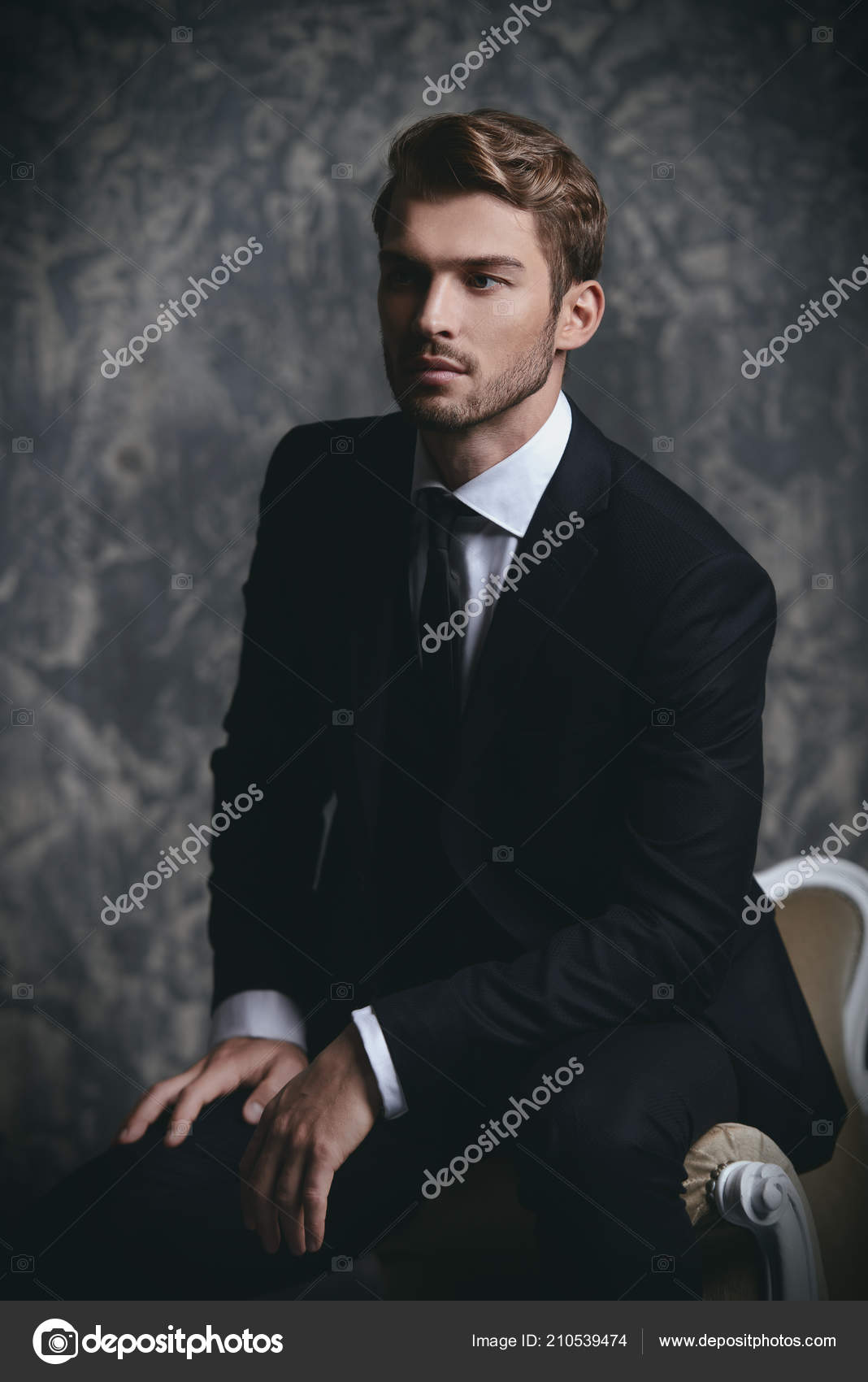 38beb7496d6d Portrait of a handsome man in an elegant suit sitting in an armchair on a  grunge background. Studio shot.
