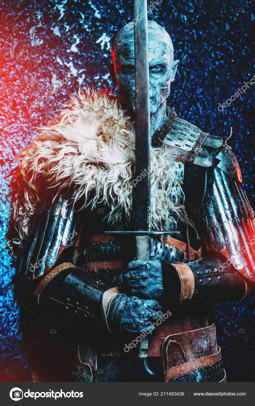 halloween frozen snow covered zombie warrior armor medieval knight stock photo