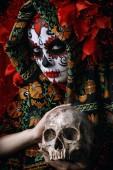 Fotografia A portrait of Calavera Catrina. Sugar skull makeup. Dia de los muertos. Day of The Dead. Halloween.