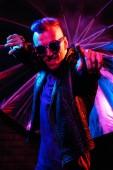 Fotografie Portrét člověka, crazy disco. Párty, disco. Barevné světlo