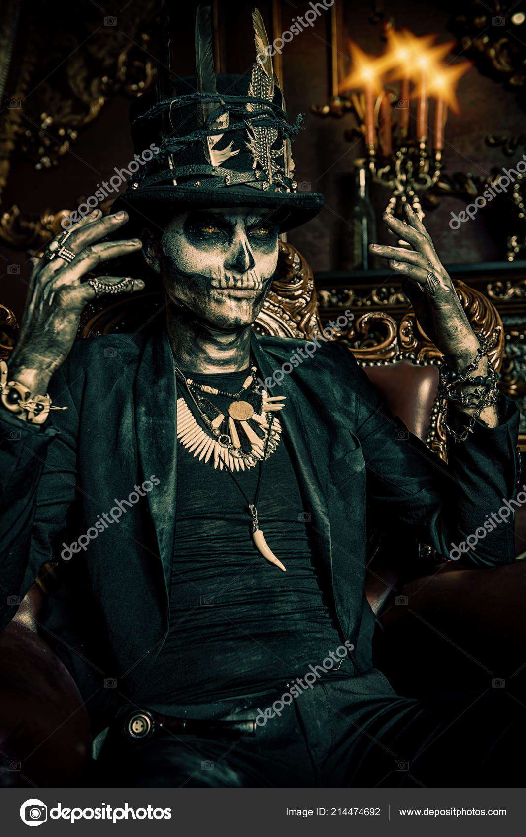 Halloween Maan.Pics Halloween Top Hat Halloween Man Skull Makeup Dressed