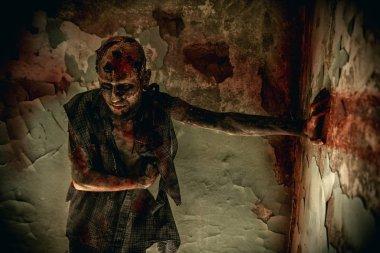Creepy scary zombie. Halloween. Horror film.