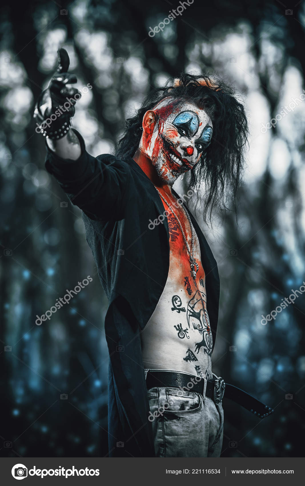 Scary Punk Clown Man Smeared Blood Night Forest Halloween Horror