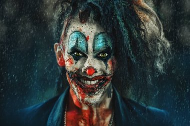 Close-up portrait of a scary punk clown man smeared with blood in a night forest. Halloween. Horror, thriller film.