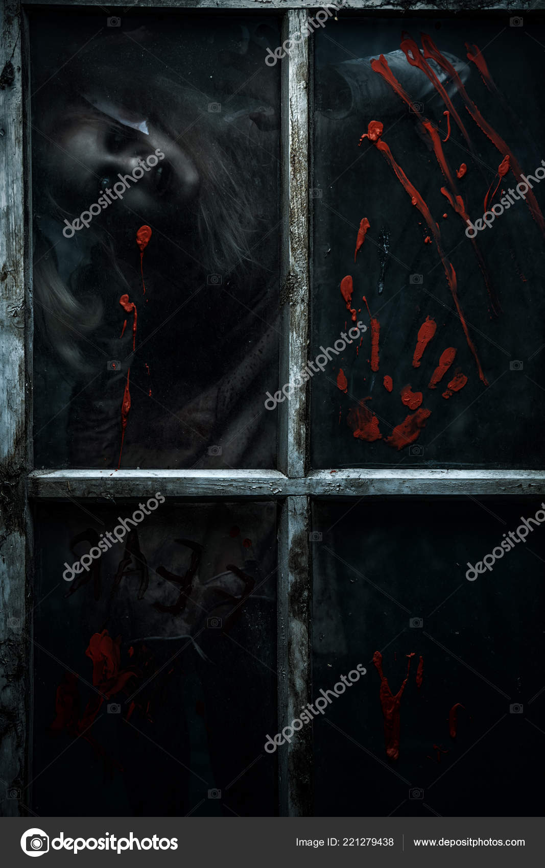 Scary Little Zombie Girl Dirty Window Blood Halloween Horror Movie