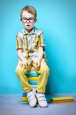 Cute serious little boy in bright clothes and big glasses sitting on a stack of books. Educational concept.