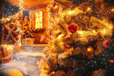 christmas tree decoration near the house