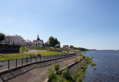 Rybinsk. Chapel Of St. Nicholas. Volga embankment. Summer day stock vector