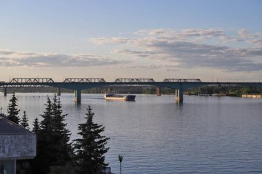ship on the Volga river near the Spit of Yaroslavl. View from the Volga river embankment