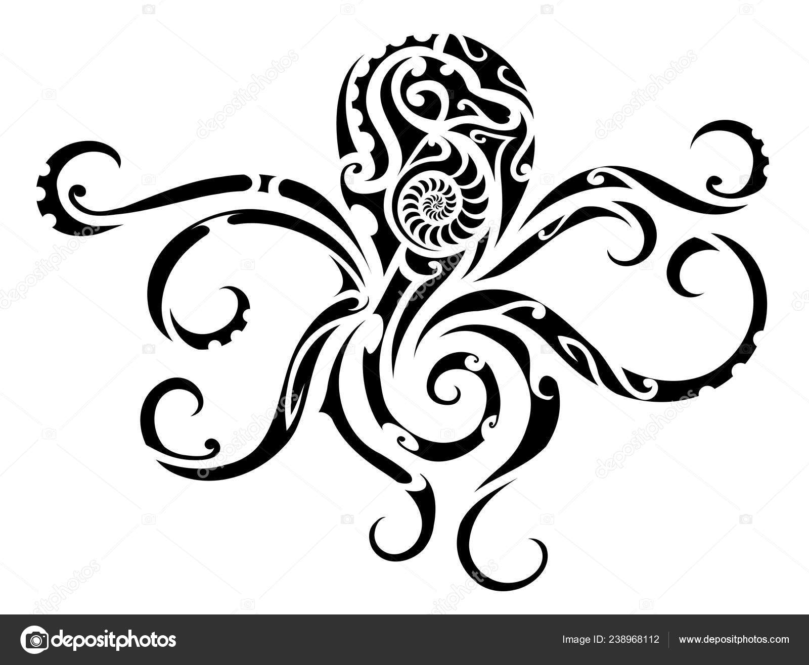Tatouage tribal de poulpe — Image vectorielle akv_lv ...