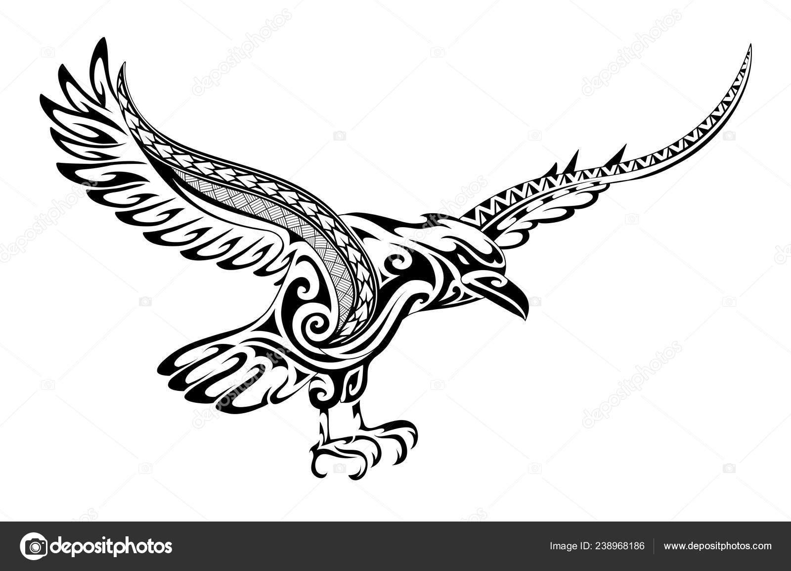 Plemienny Tatuaż Kruk Kształt Grafika Wektorowa Akvlv