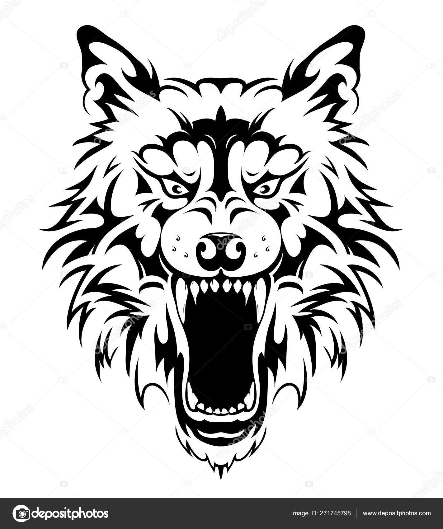 Wolf Head Tattoo Design векторное изображение Akv Lv