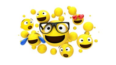 yellow characters floating 3d rendering