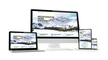 responsive website isolated gadget devices 3d rendering