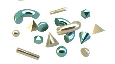 geometric primitives isolated 3d rendering