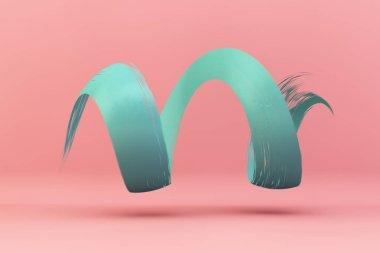 blue brush stroke on pink background 3d rendering