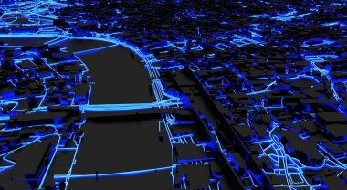 3d rendering of smart city with neon roads