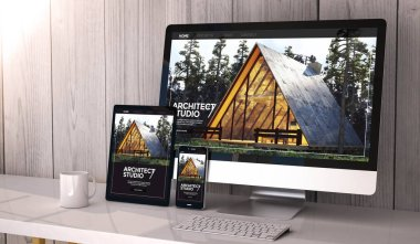 Digital generated devices on desktop, responsive architect website design on screen. All screen graphics are made up. 3d rendering.